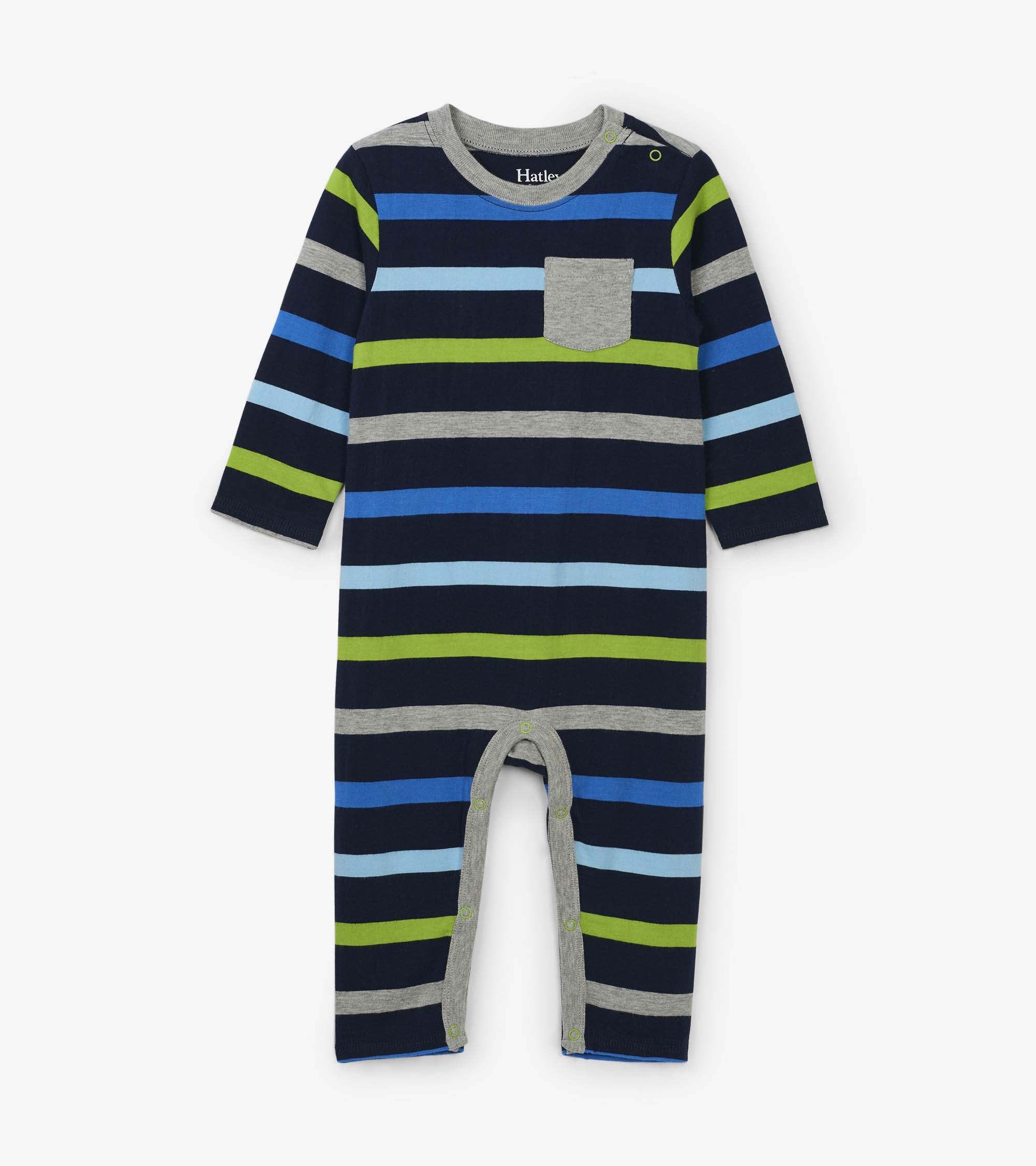 WAS £24.00 Hatley Stripe Baby Romper Blue