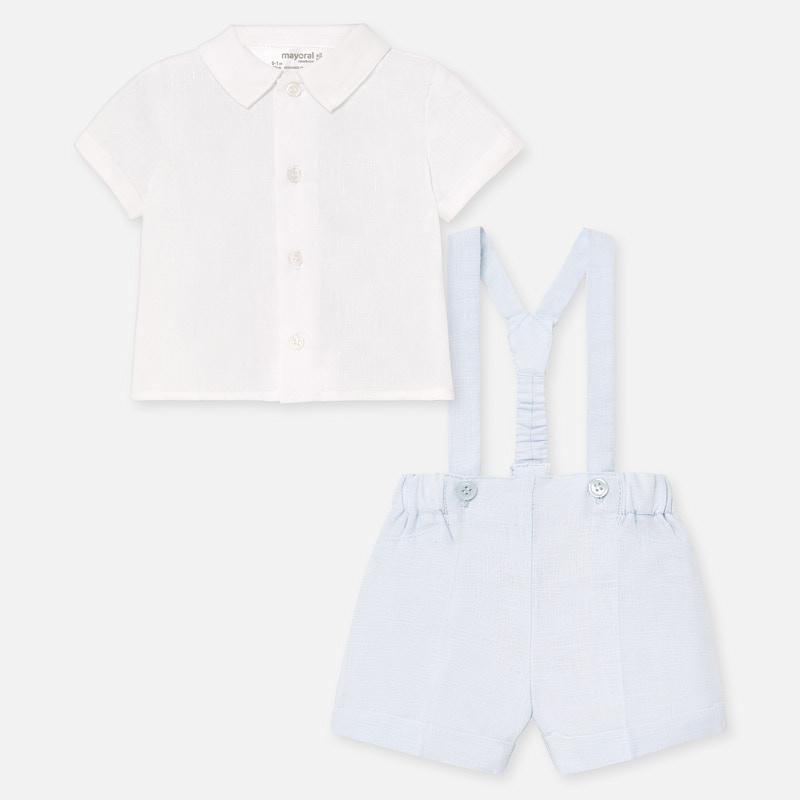 NOW £20 Mayoral Shirt & Shorts With Braces Set Blue (1266)