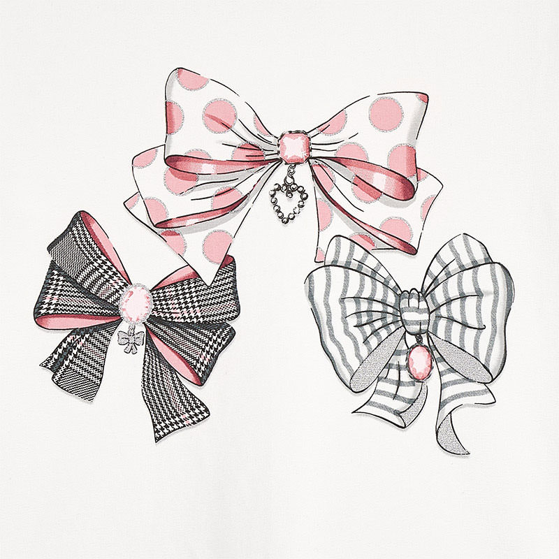 Mayoral Trio Bow Top-off white & Pink (4068) (was £17)