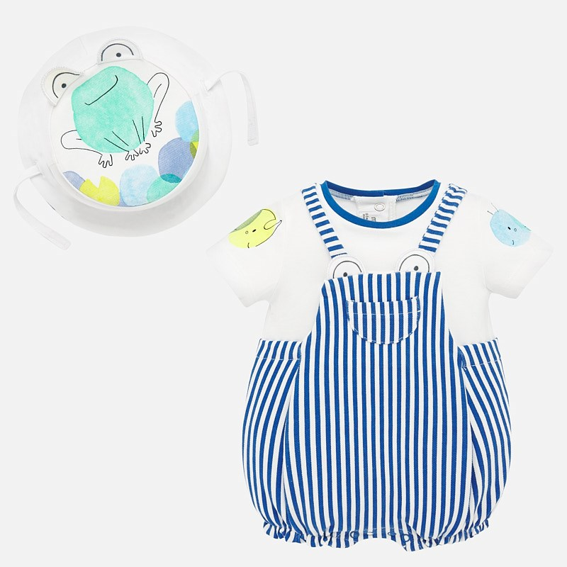 Mayoral Romper & Hat Blue Stripe (1658)