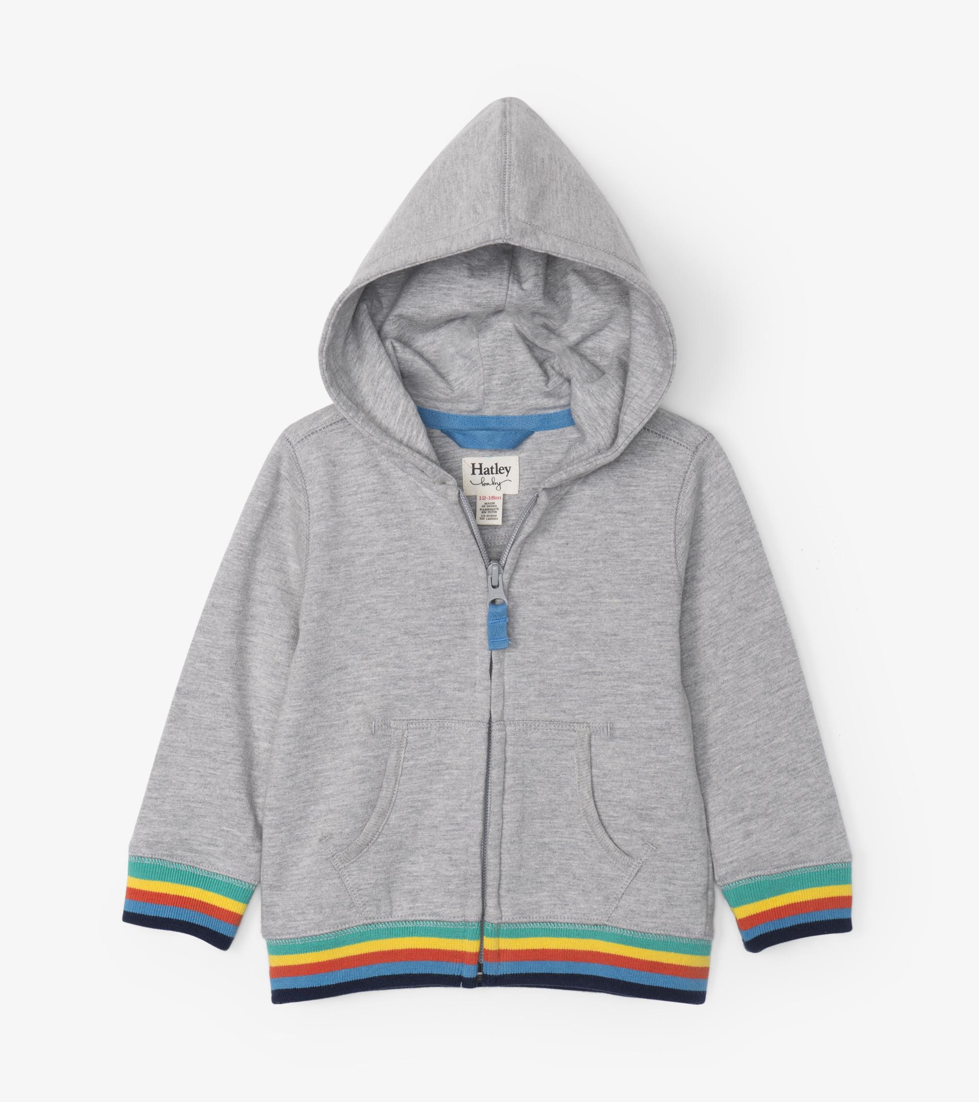 Hatley Retro Stripe Baby Hoodie Grey