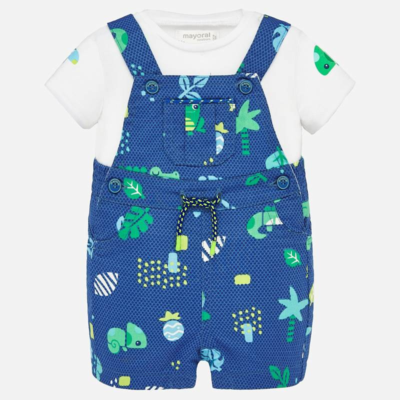 NOW £19 Mayoral Dungaree & T-Shirt Set Blue (1681)(was £38)