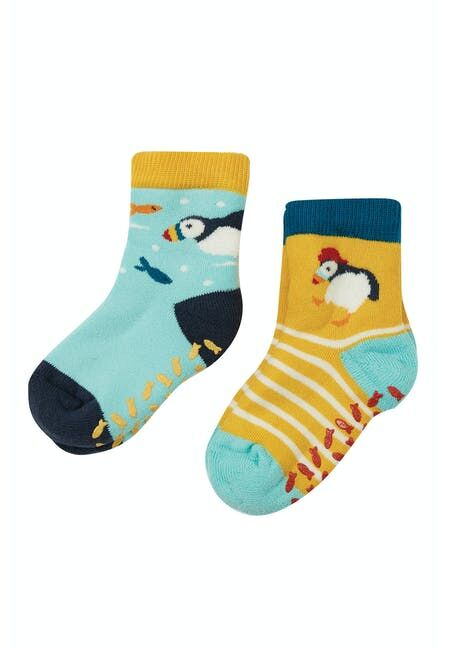 Frugi The National Trust Grippy Socks 2 Pack-Puffin