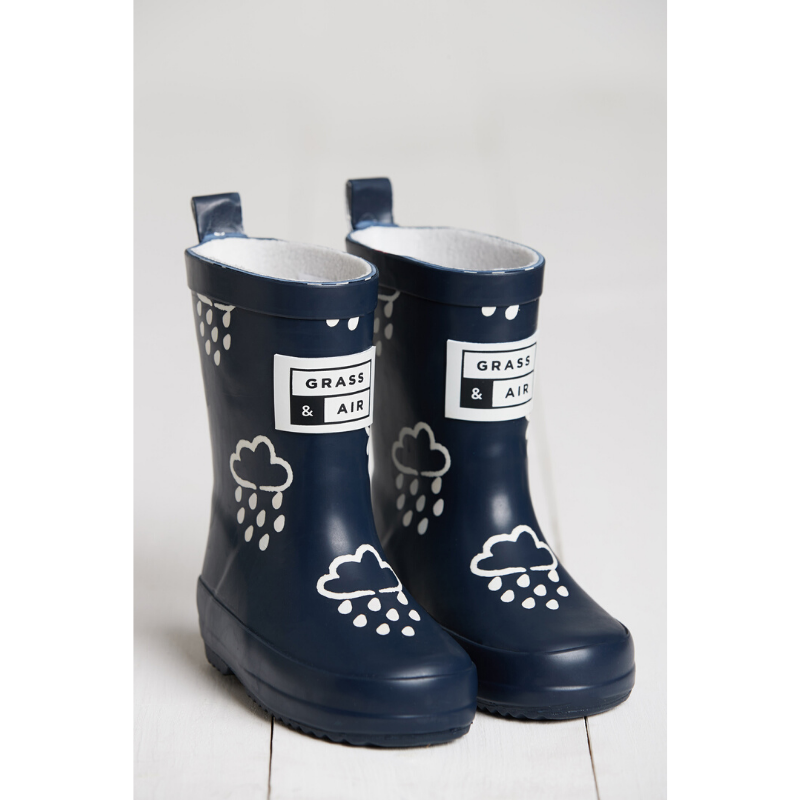 Grass & Air Colour Revealing Wellies - Navy