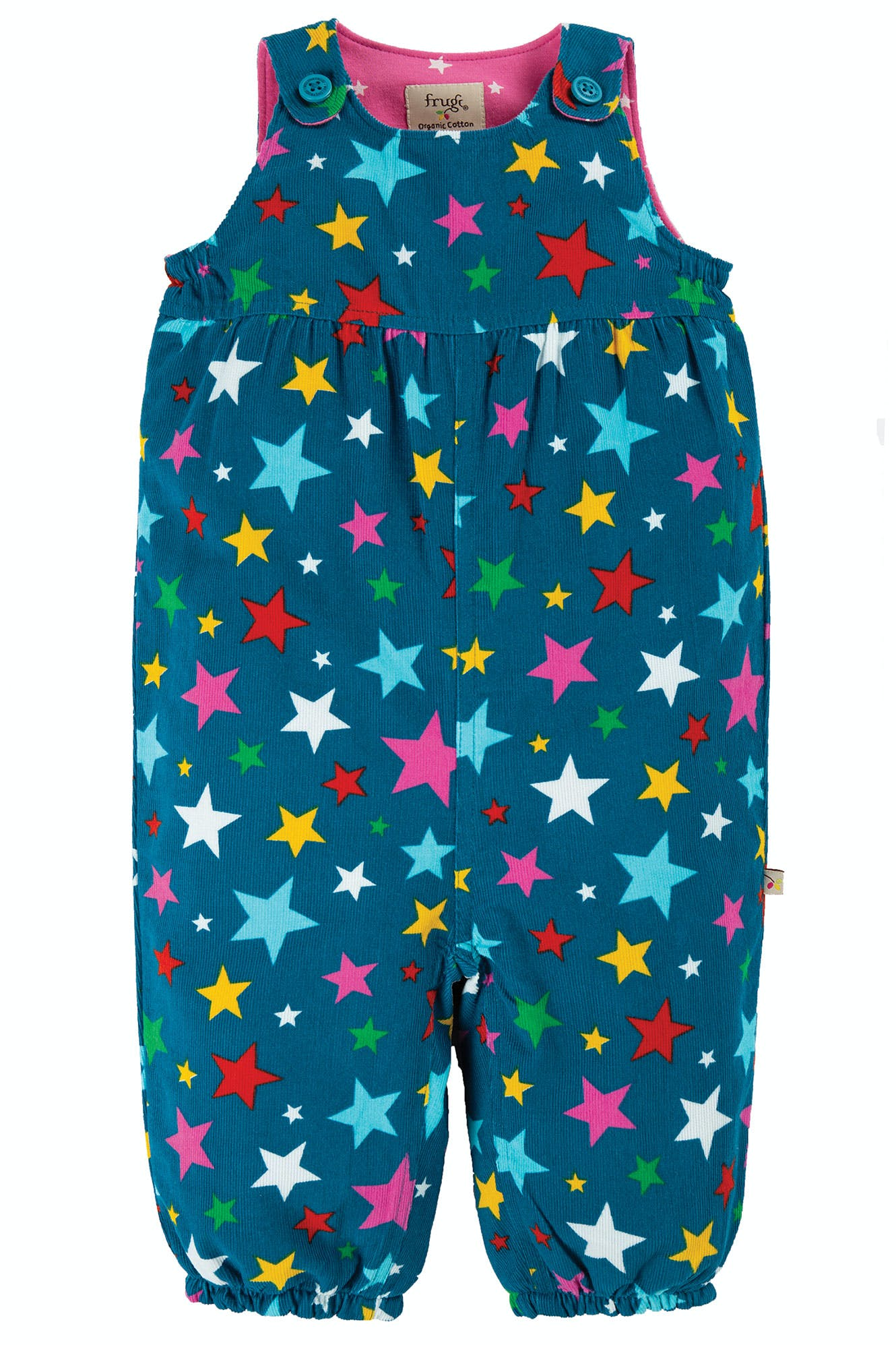 Frugi Willow Cord Dungaree-Rainbow Stars (was £35)