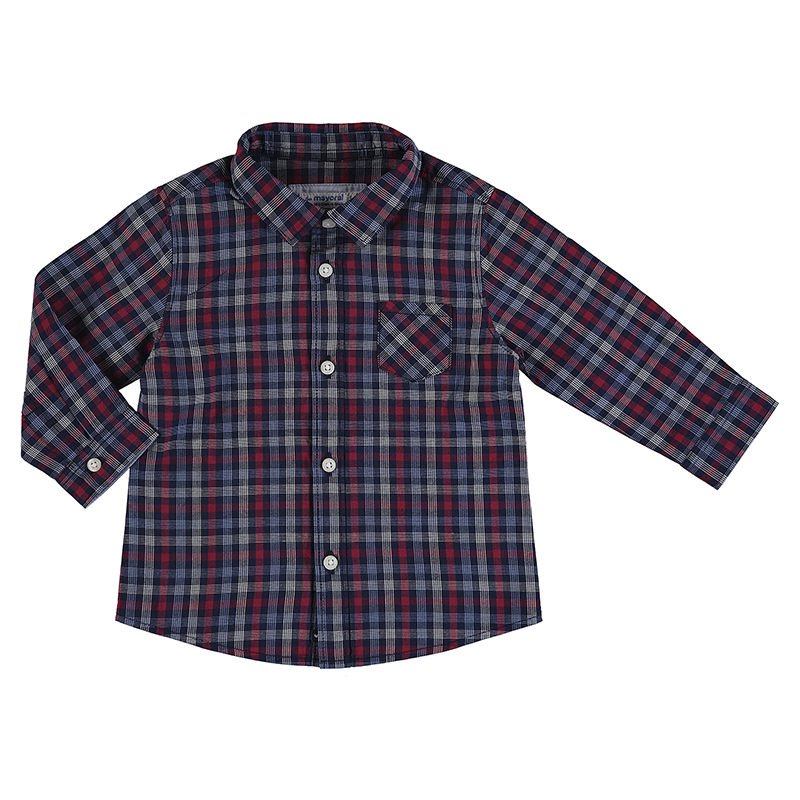 Mayoral Checked Shirt-Navy & Red (2130)