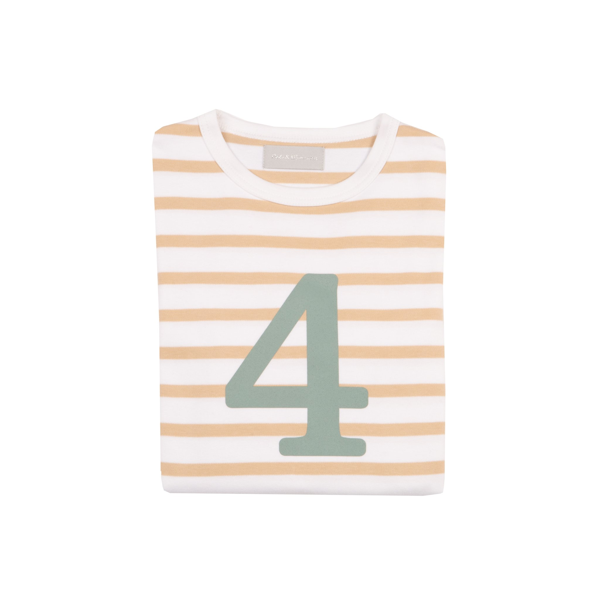 Bob & Blossom - Biscuit & White Striped Number T-shirt