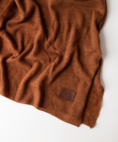 Large Knitted Cashmere Scarf - Carob