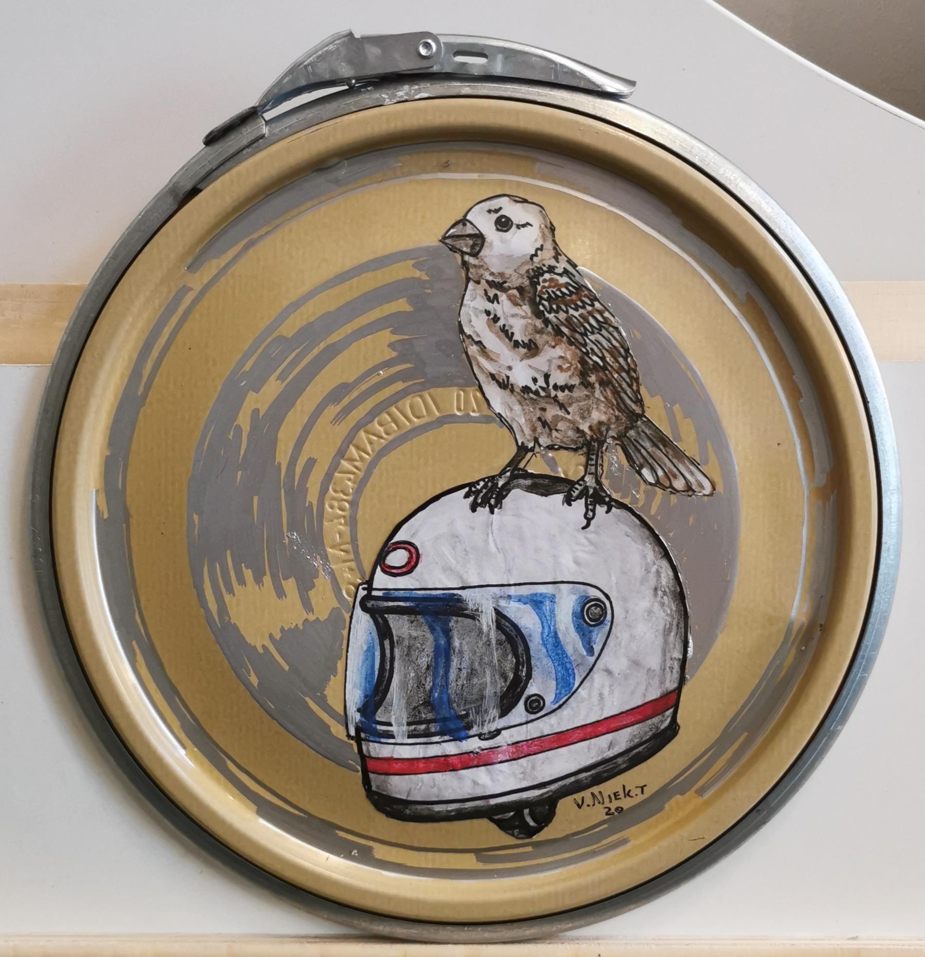 Paint Lid Art- Hitchhiking Bird