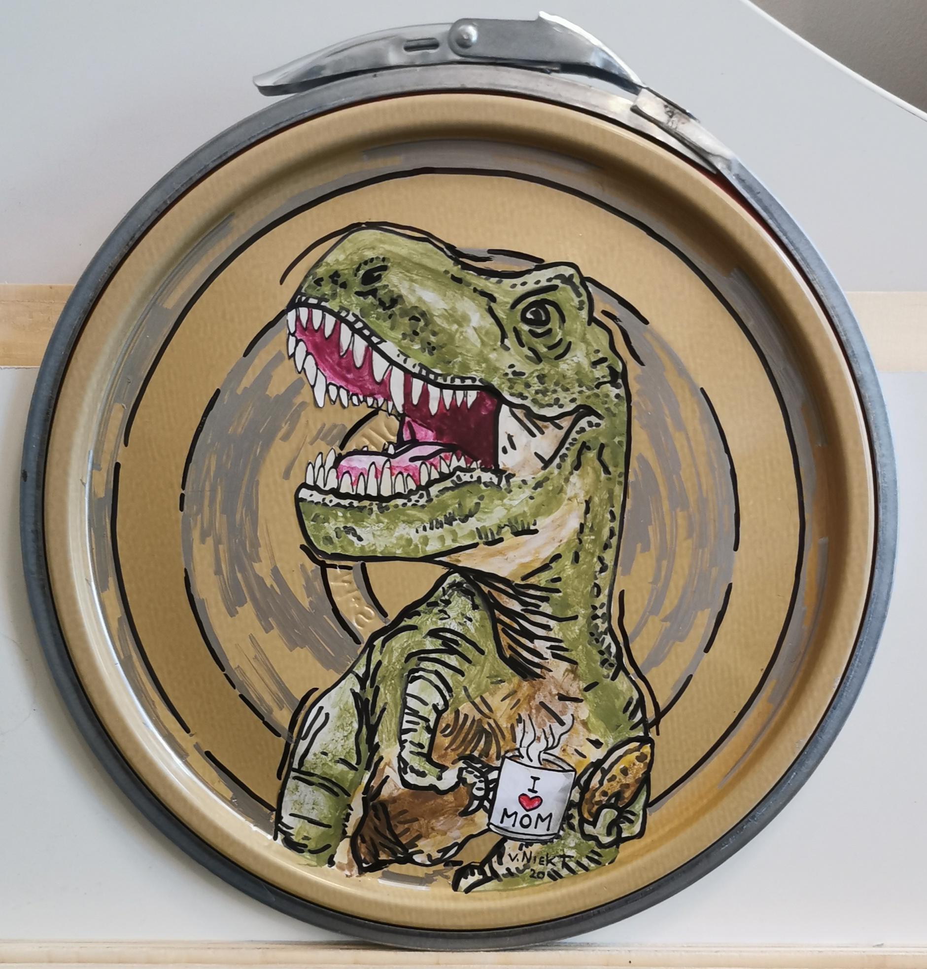 Paint Lid Art- Dinosaur