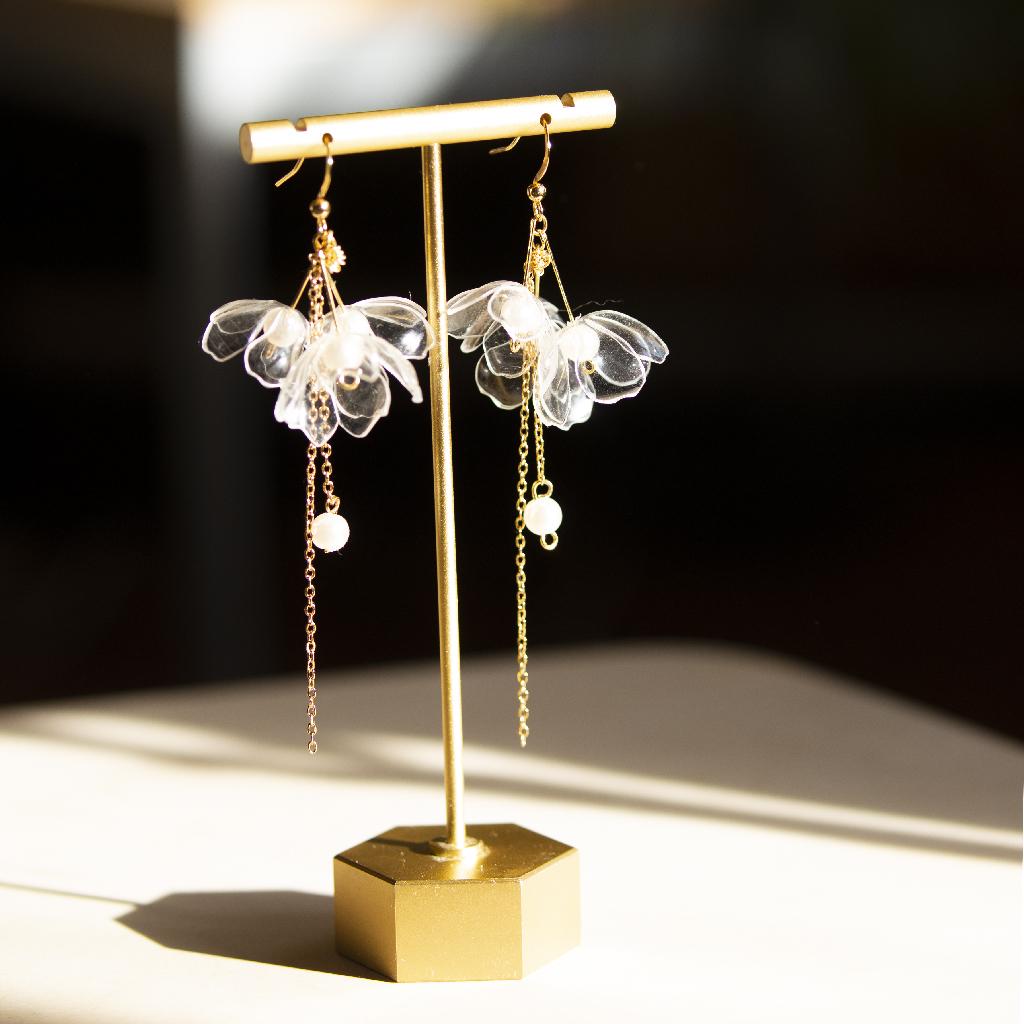 Clear Triple Flowers Drop Earrings