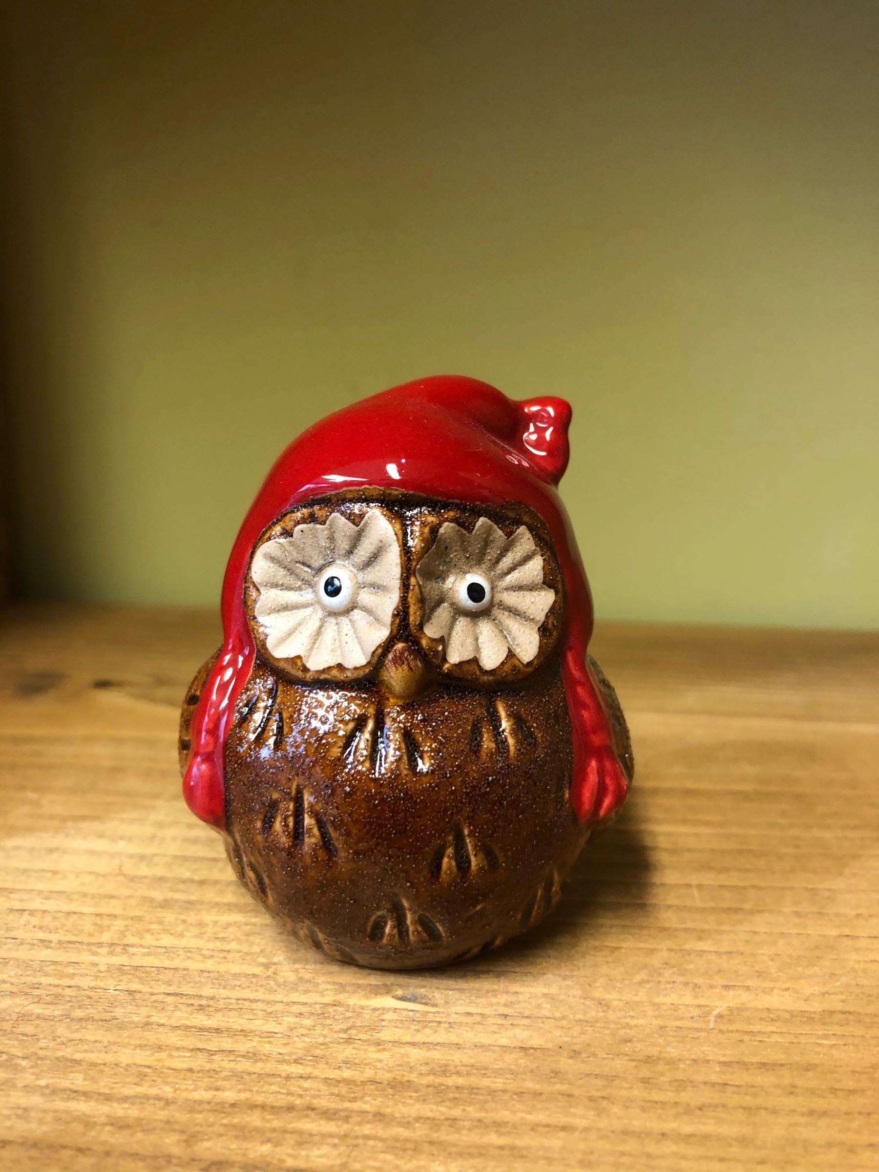 Cosy owl ceramic ornament
