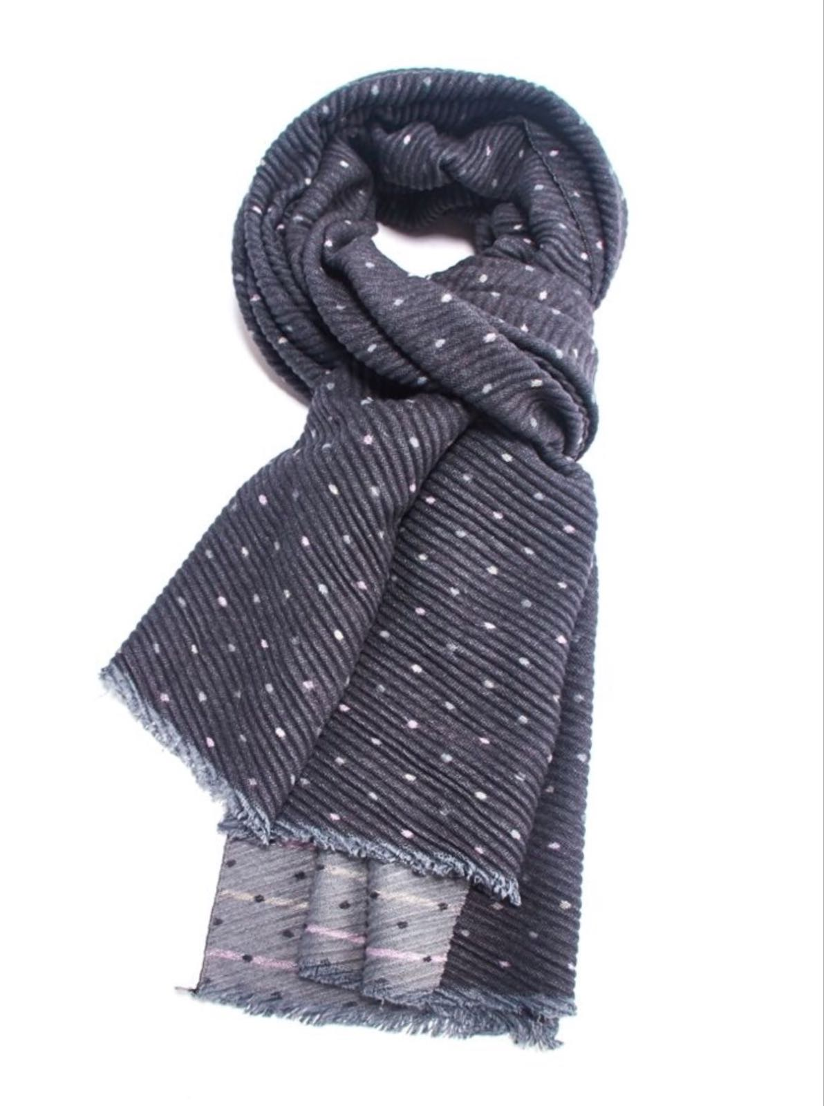 Pleated Chunky Scarf Tiny Dots - Grey