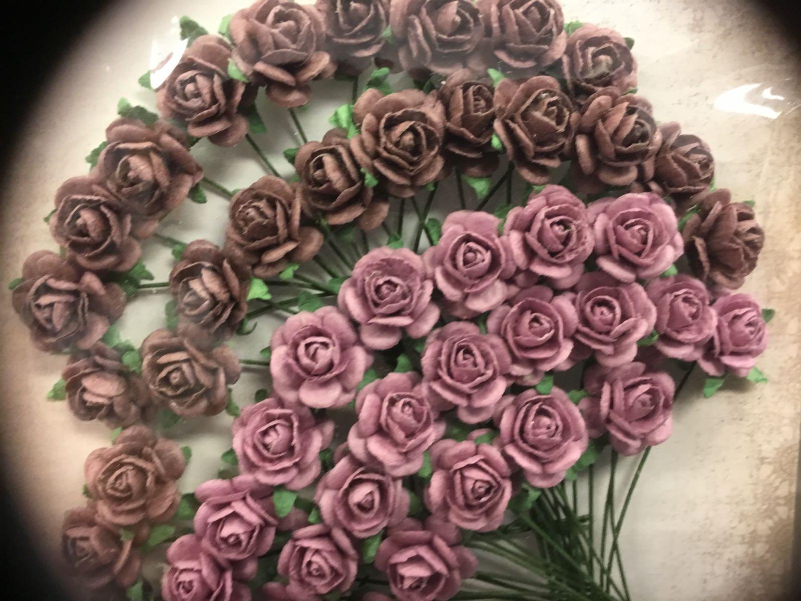 Papirdesign blomst, rose lys lilla/støvlilla, 1,2cm