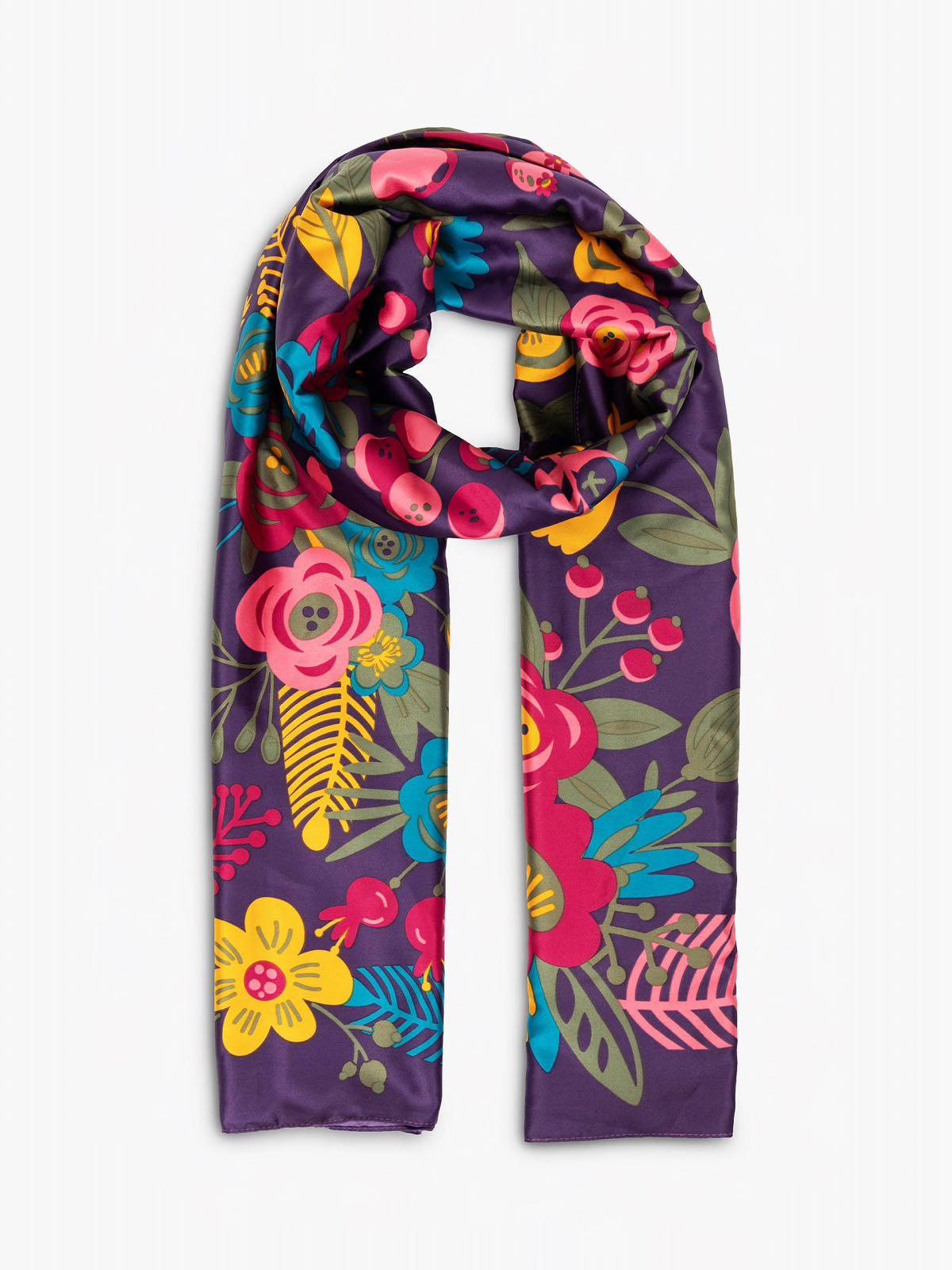 Powder floral satin scarf in Damson