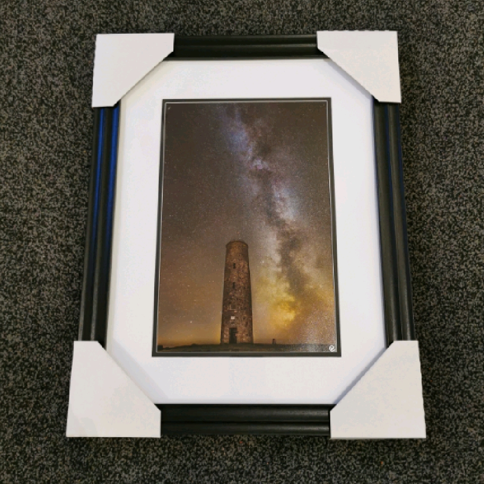 Towering among the stars, A4, signed, black