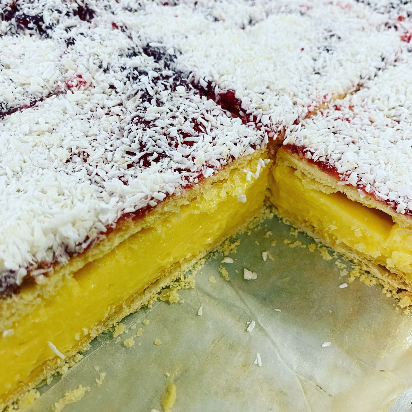 Jam and Coconut Custard Slices