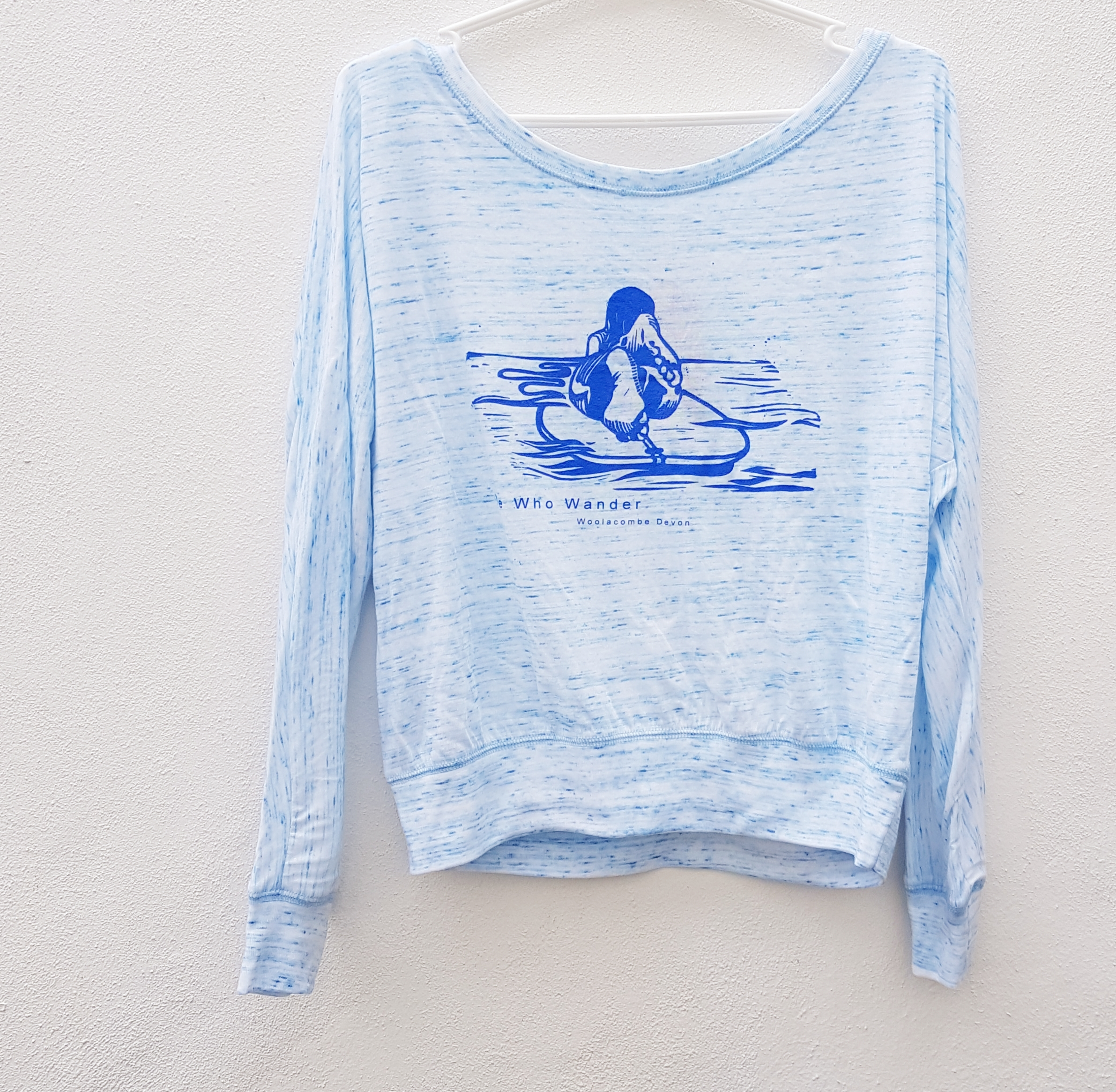 We who wander long sleeve slouch top surfer blue