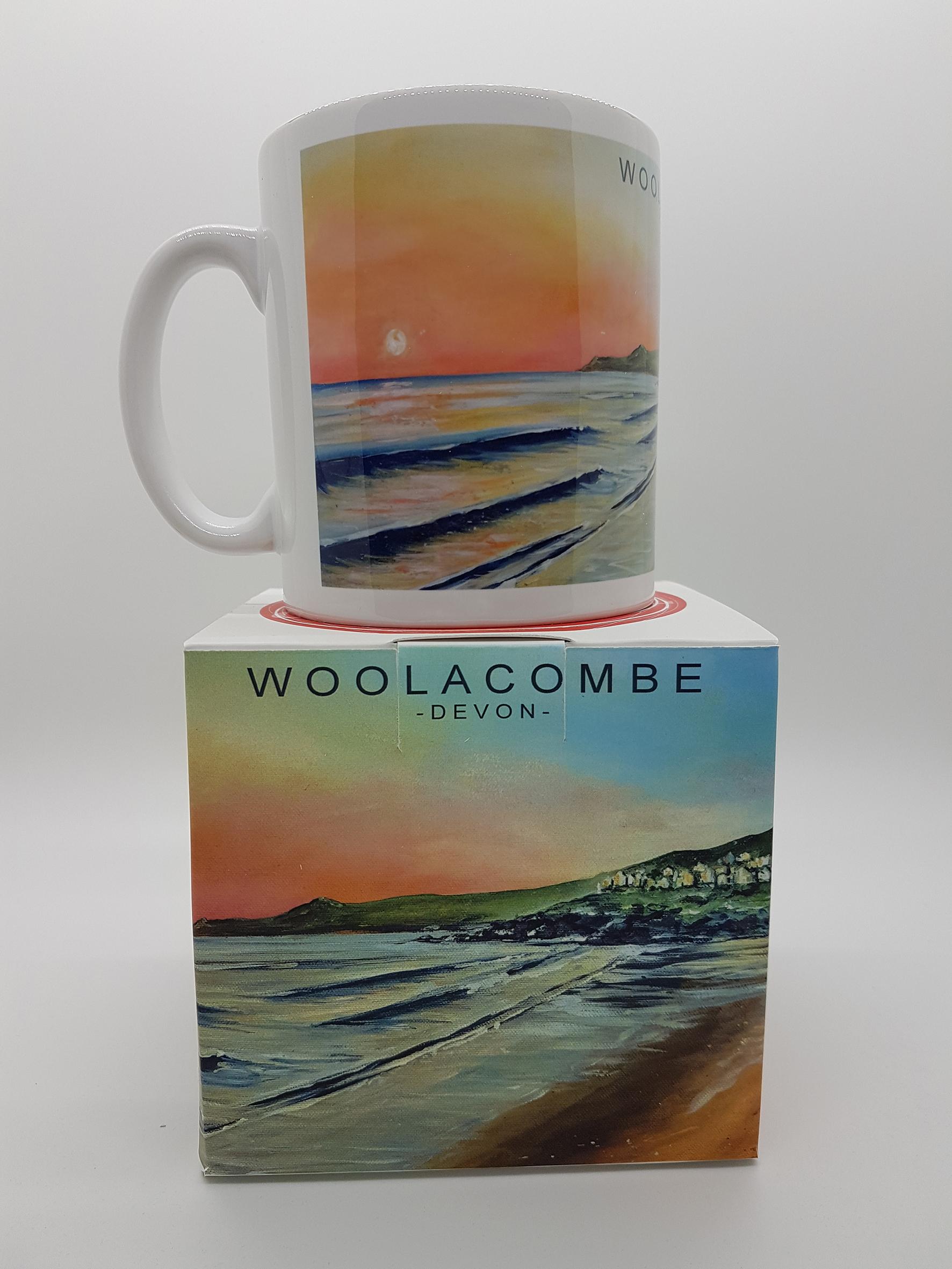 mug featuring Woolacombe beach huts at sunset