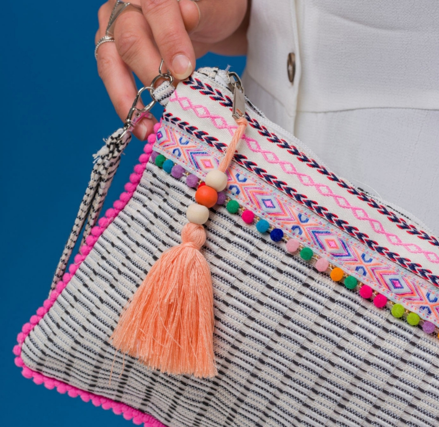 Boho style clutch bag with tassel