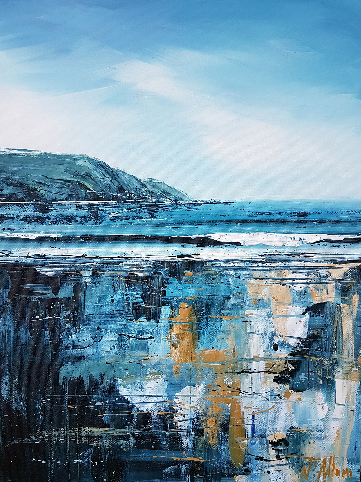 Original paintings. 'Woolacombe diptych' by Jo Allum. Baggy Point and Morte Point