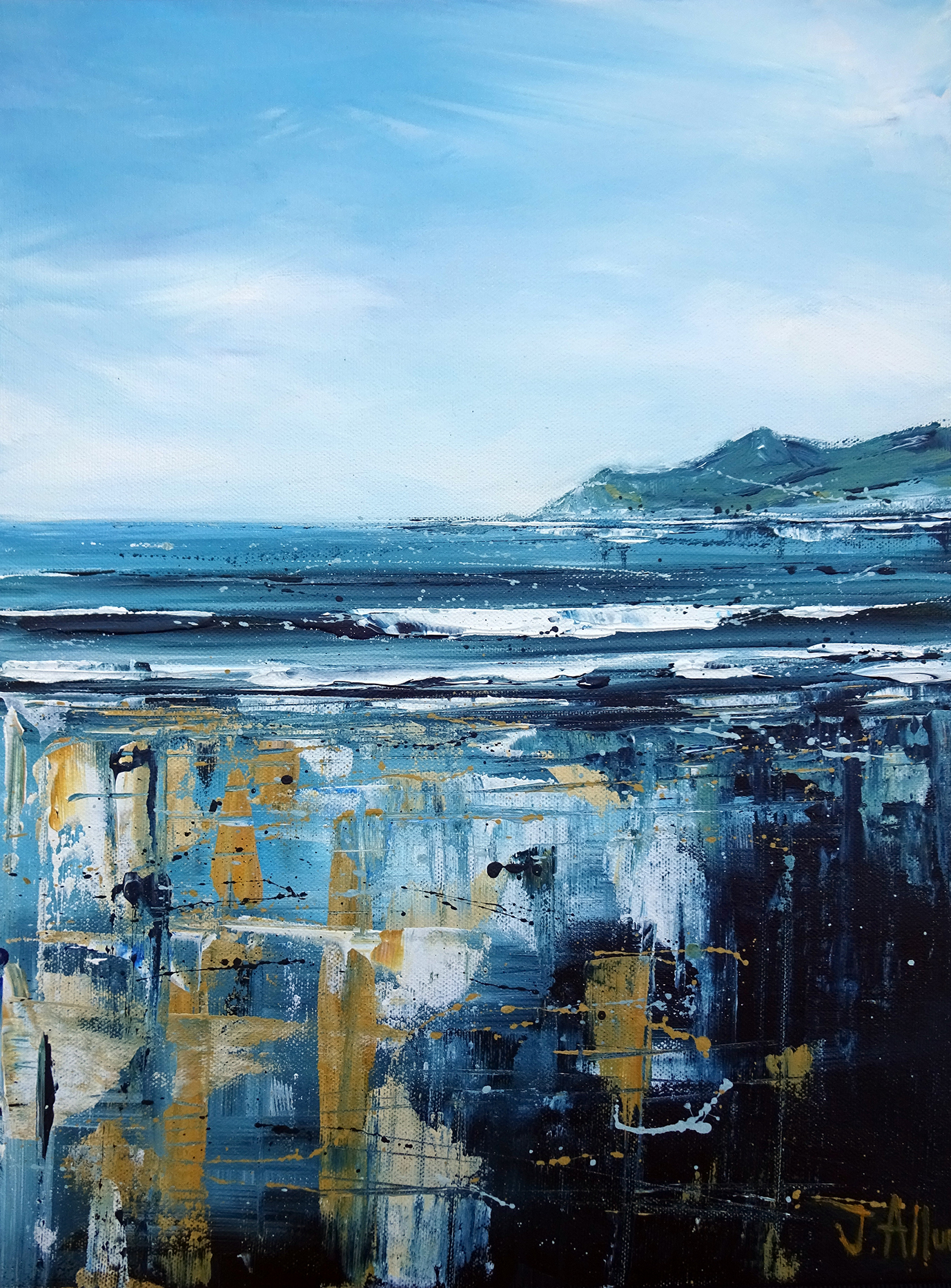 Art. Original paintings. 'Woolacombe blues' by Jo Allum. Morte Point