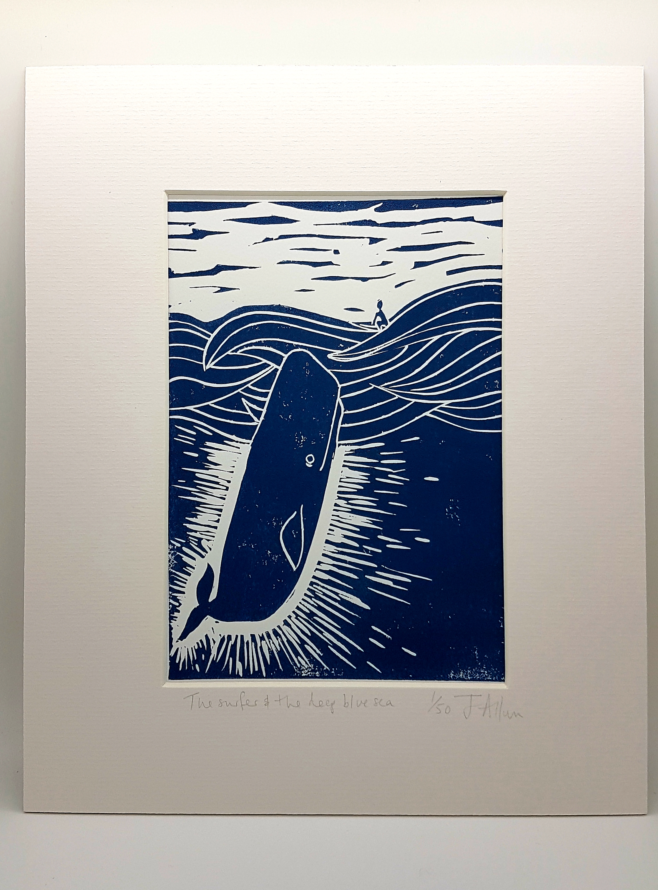 Original lino print. Surfer and the deep blue sea
