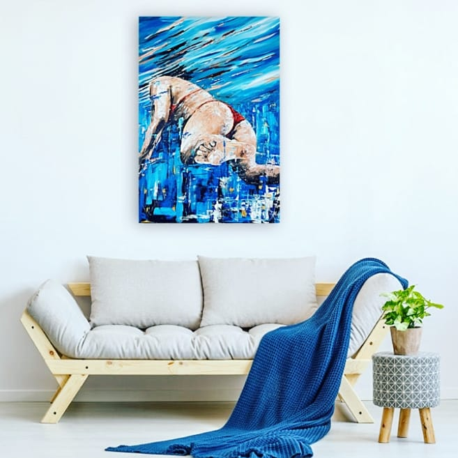 Art. Original painting by Jo Allum 'Swimmer I'