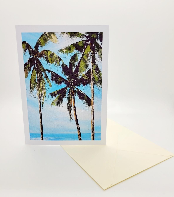 Greetings card. Palms
