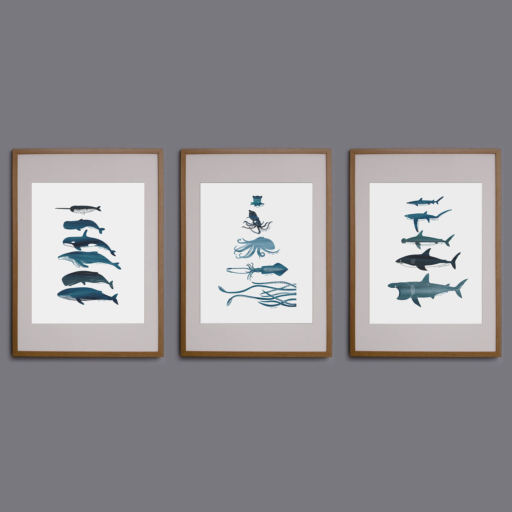 Ocean creatures prints. Whales, sharks or octopus/squid