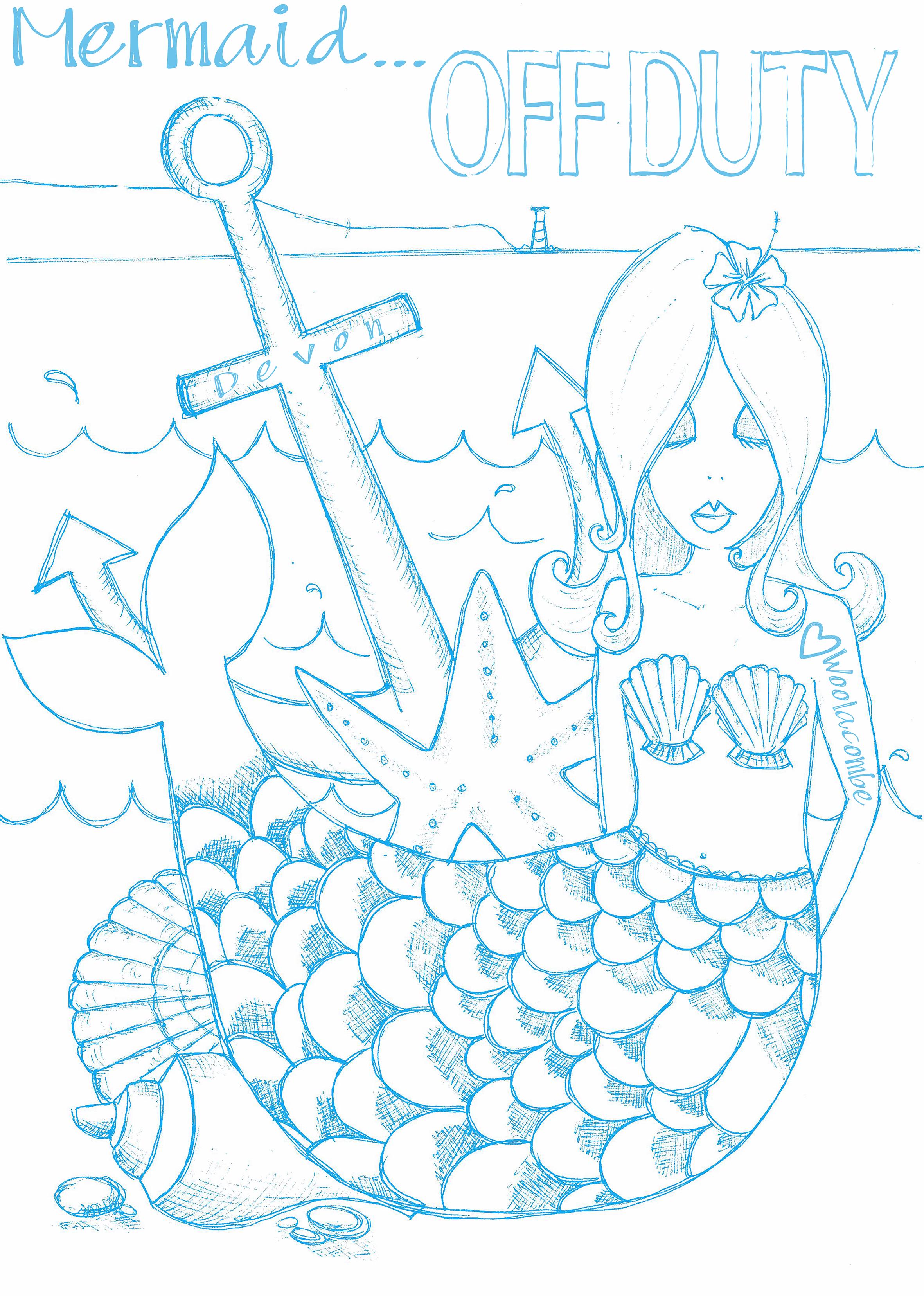 Tea towel. Off Duty Mermaid