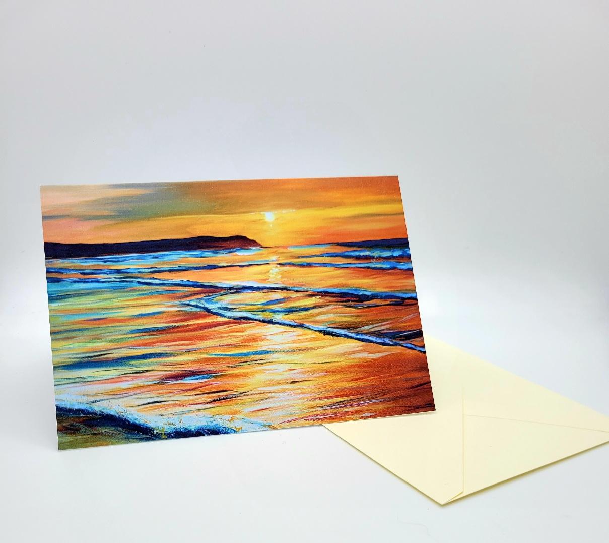 Greetings card. Sunset