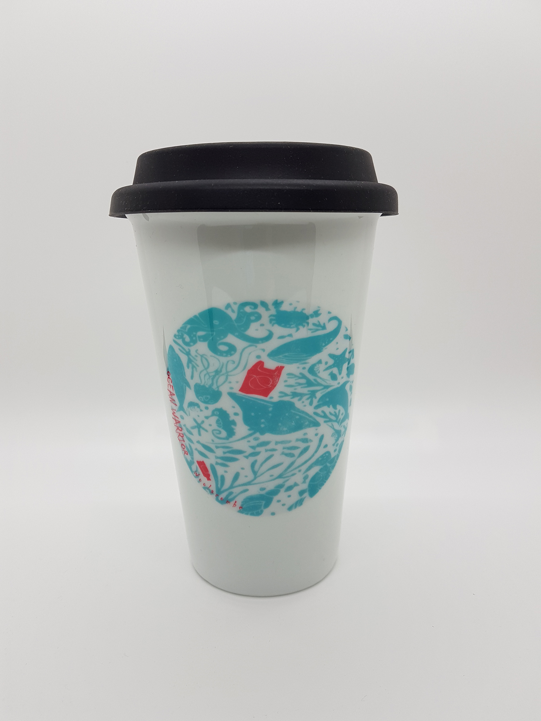 Mug. Ocean Warrior thermal ceramic mug with silicone lid