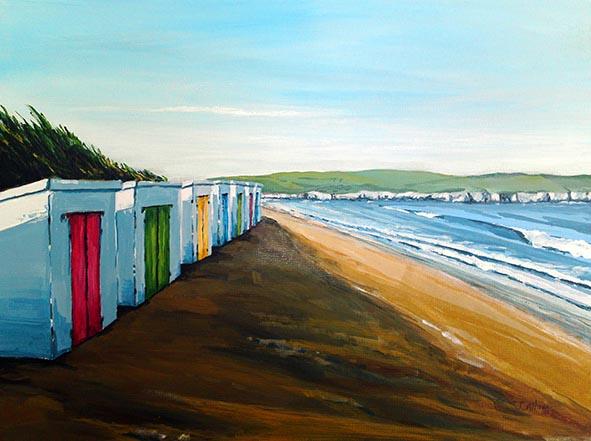 Woolacombe Beach huts art print