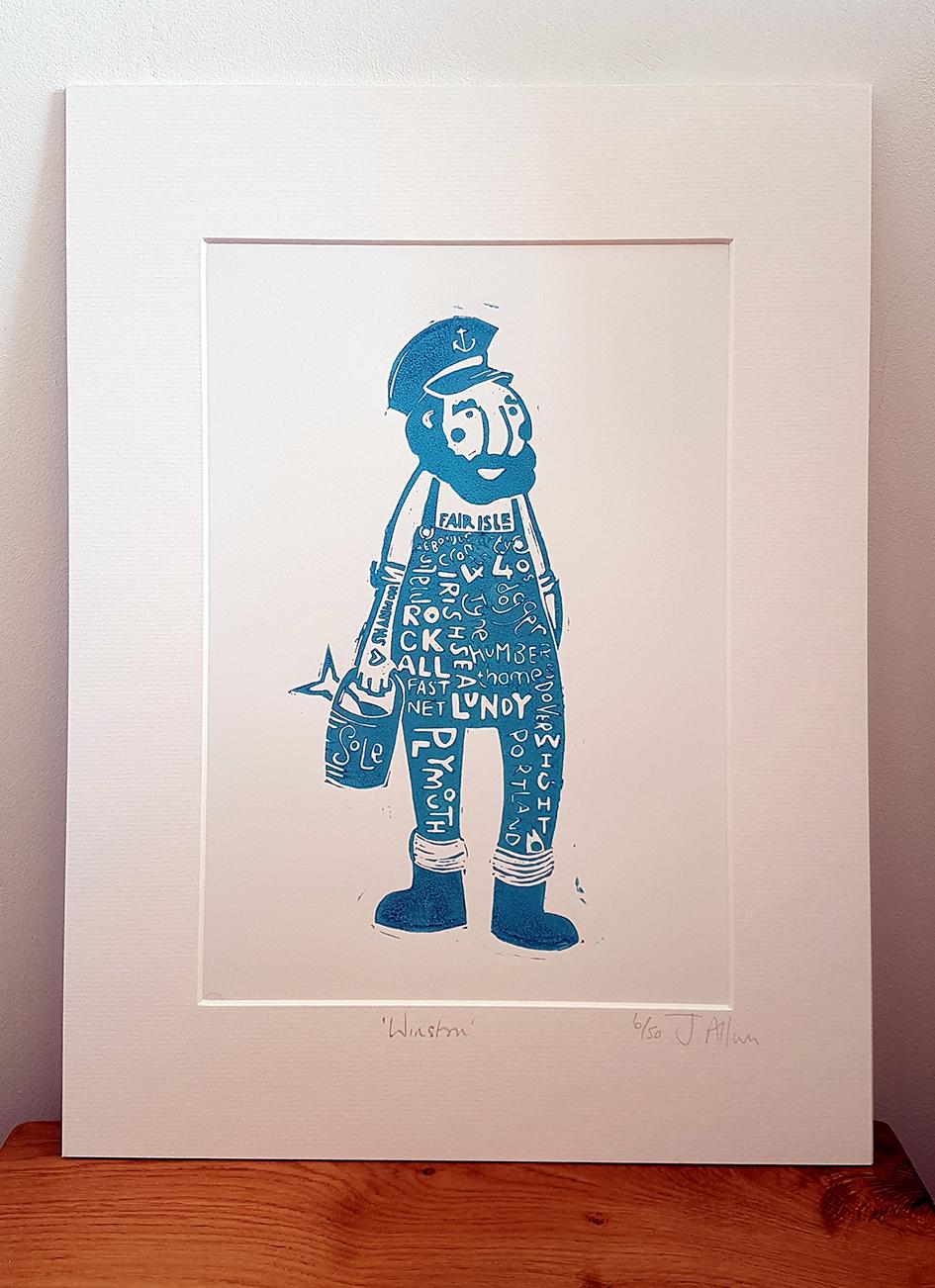 Original lino print. Winston