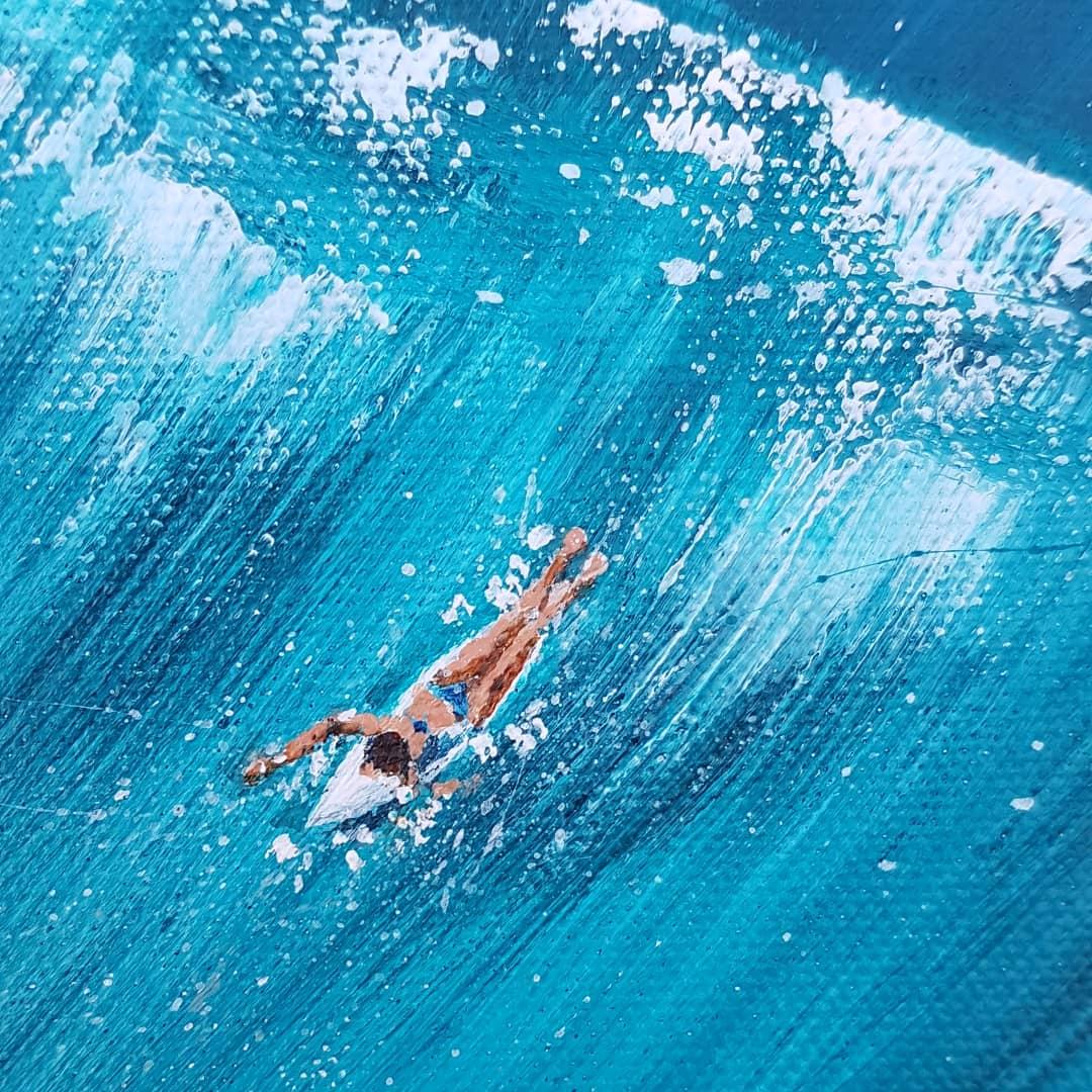 Art. Original painting by J Allum 'tropical aerial surfers'