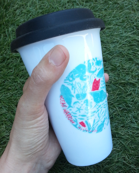 Mug. Ocean Warrior thermal ceramic mug with silicone lid