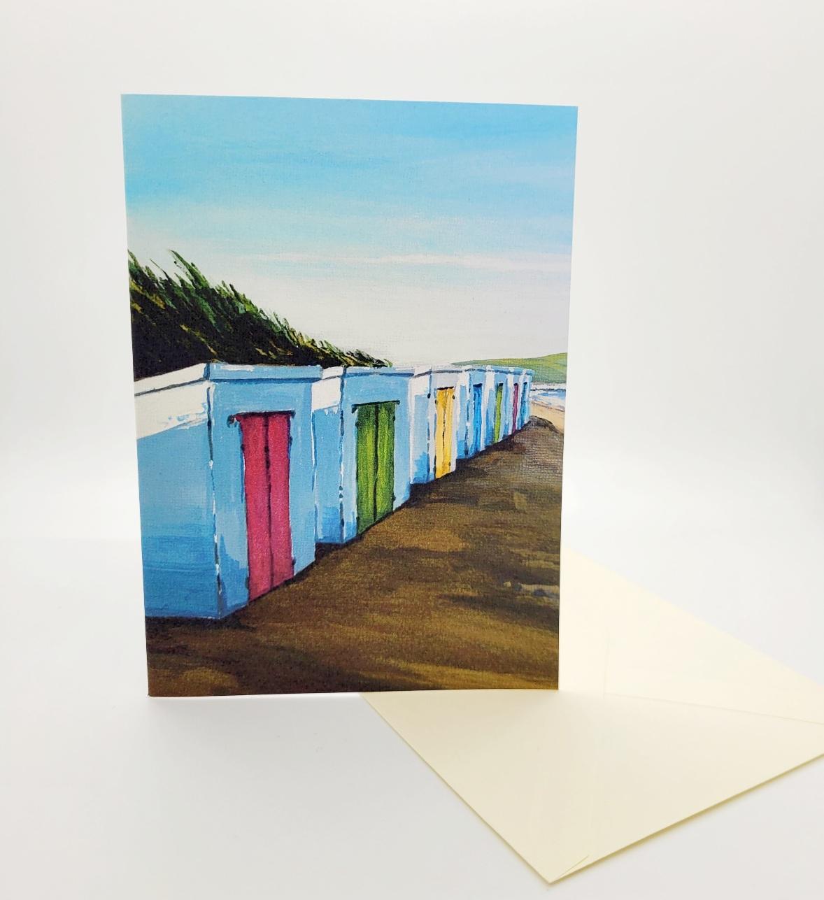Greetings card. Beach huts