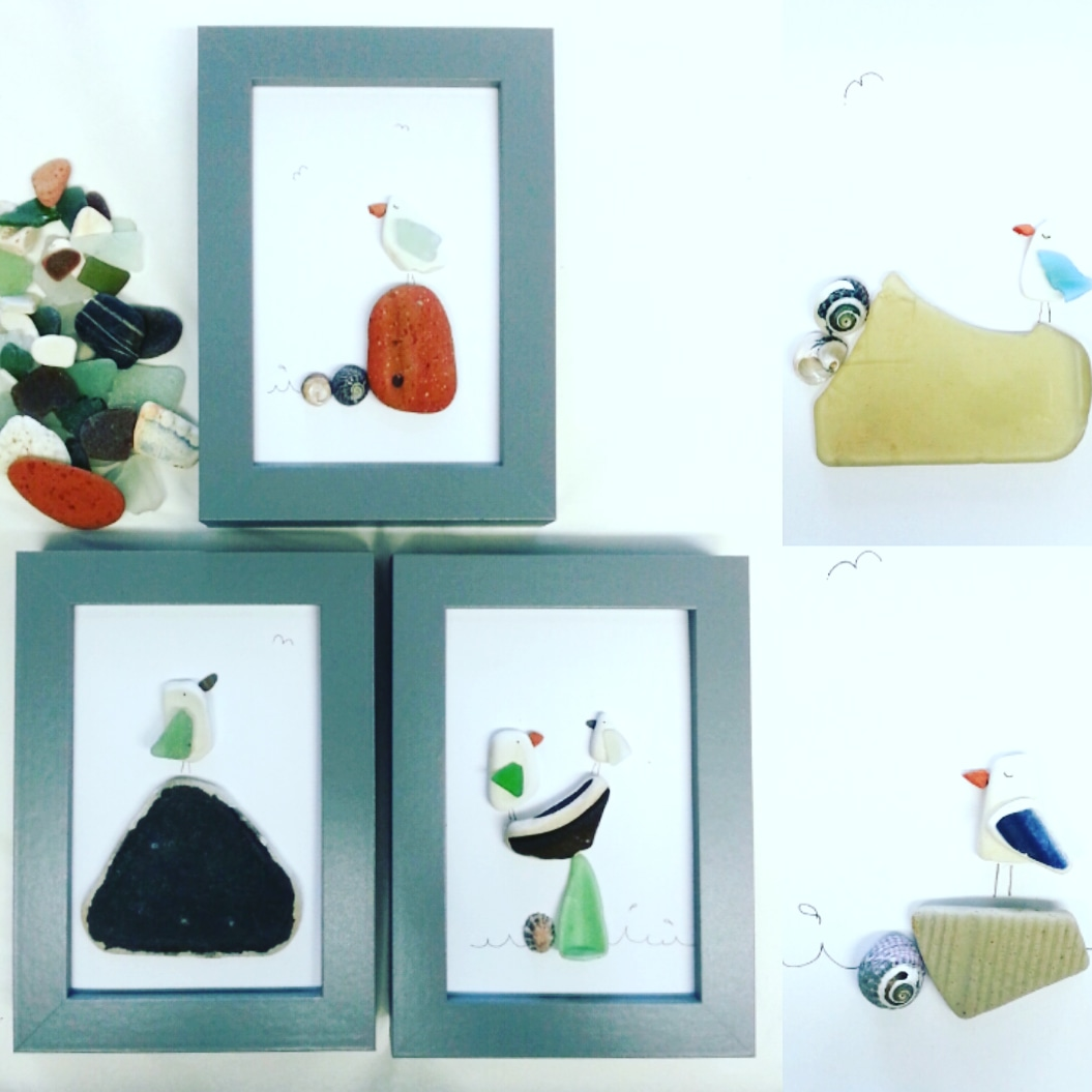 Handmade pebble and sea glass seagull pictures