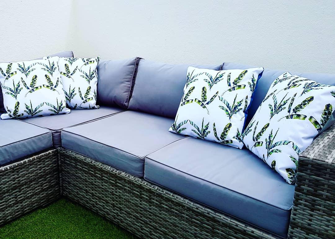 Cushion. Showerproof. Original banana palm print by Jo Allum