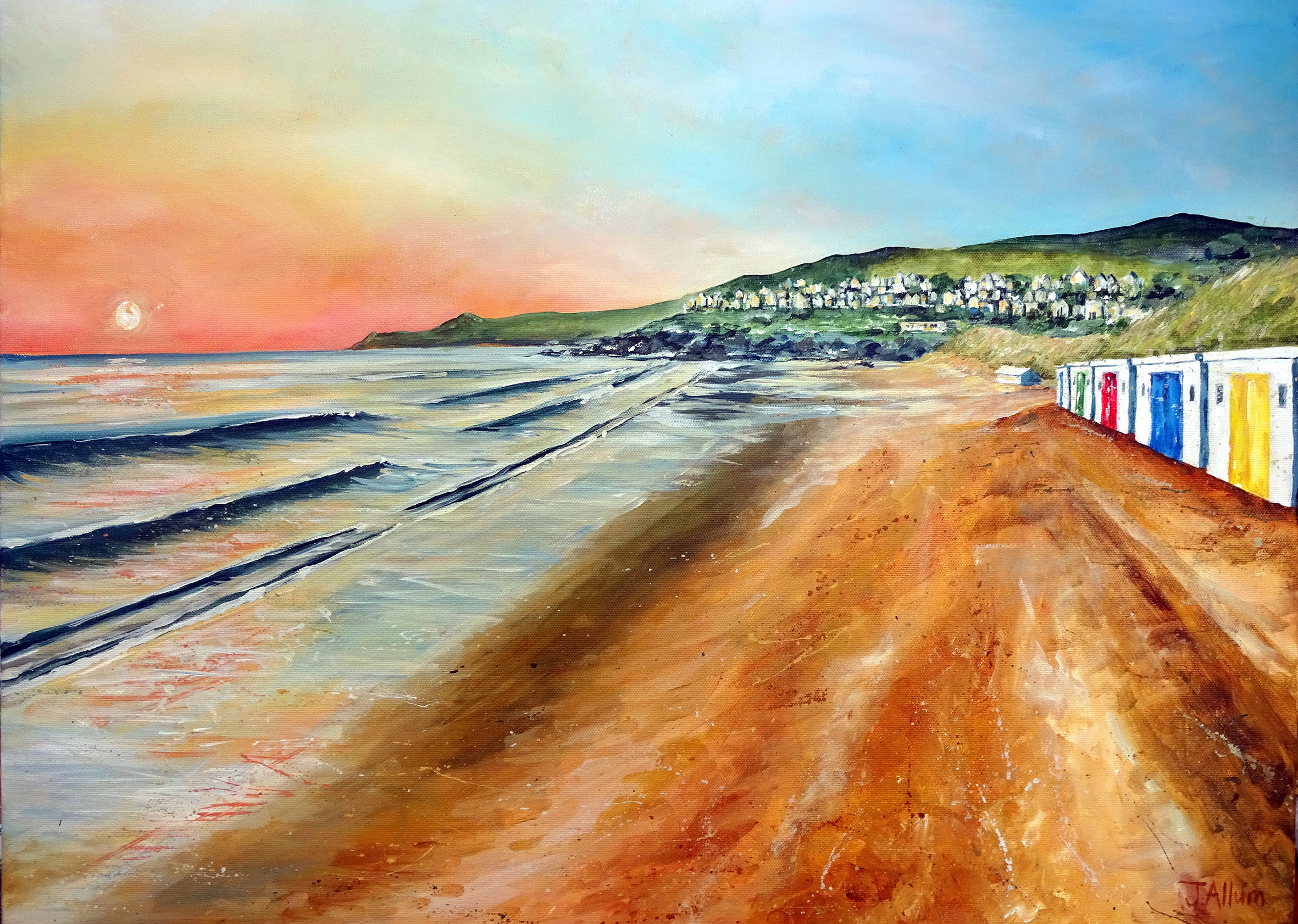 Beach Huts at Sunset