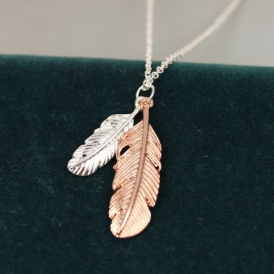 Sliver and rose gold plated feather necklace