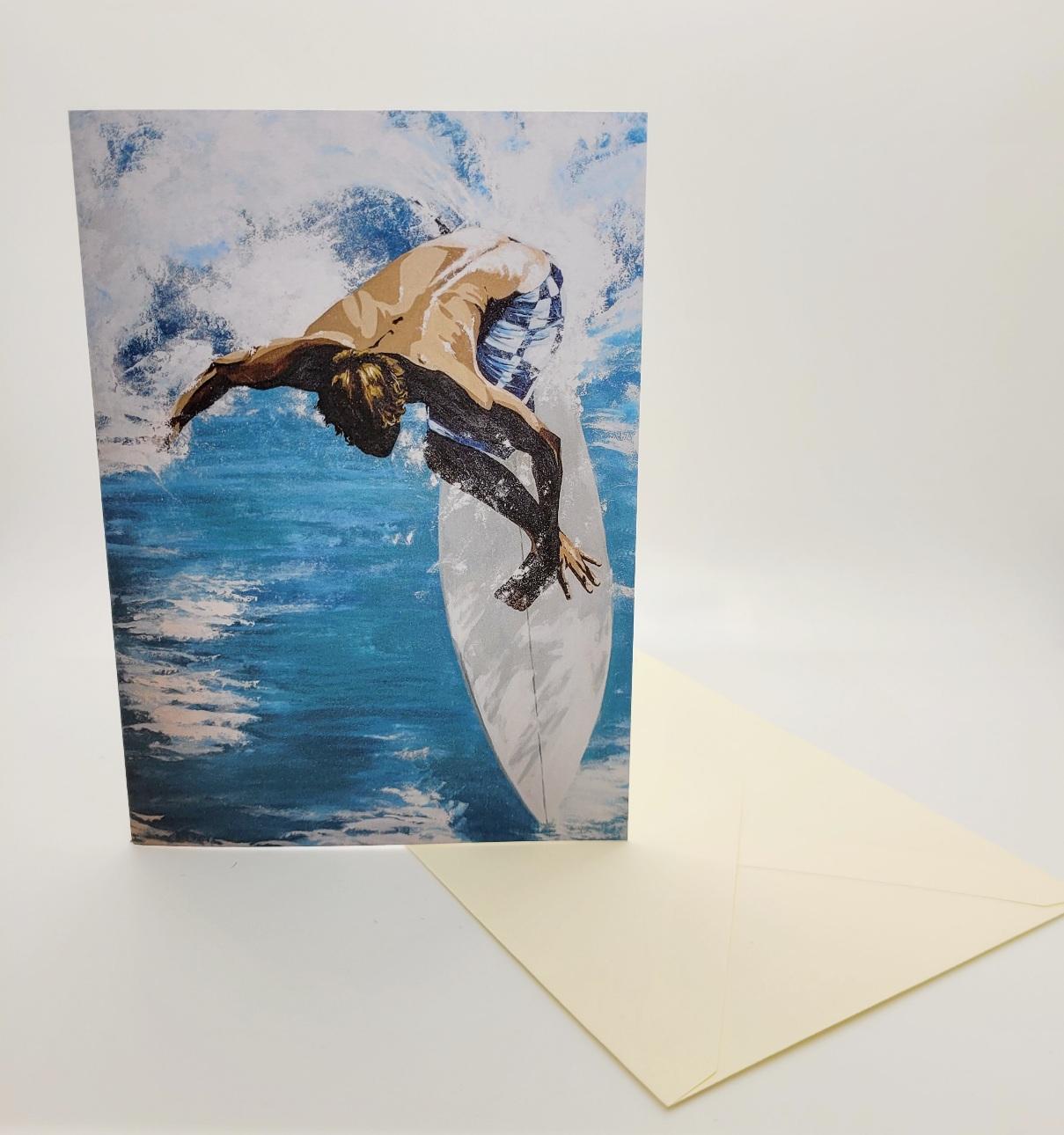 Greetings card. Surfer
