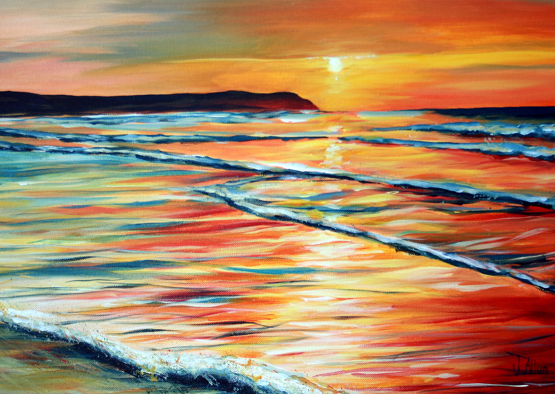 Art print. Woolacombe sunset by J Allum.