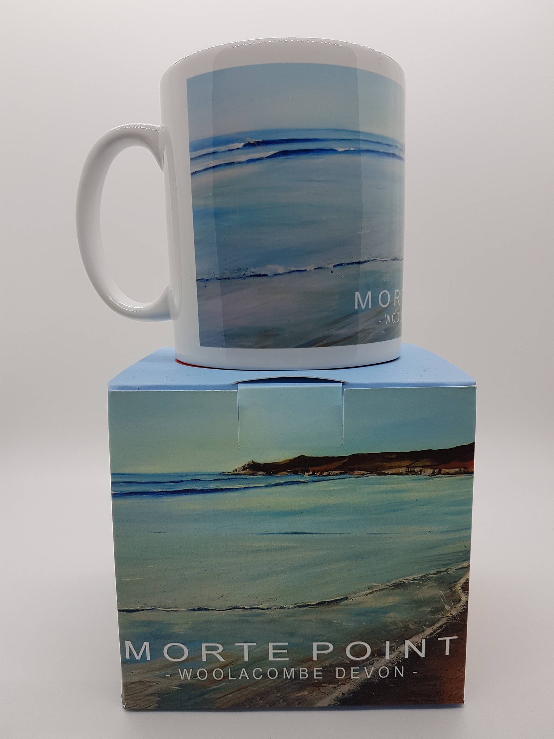 Mug featuring the shoreline towards Morte Point
