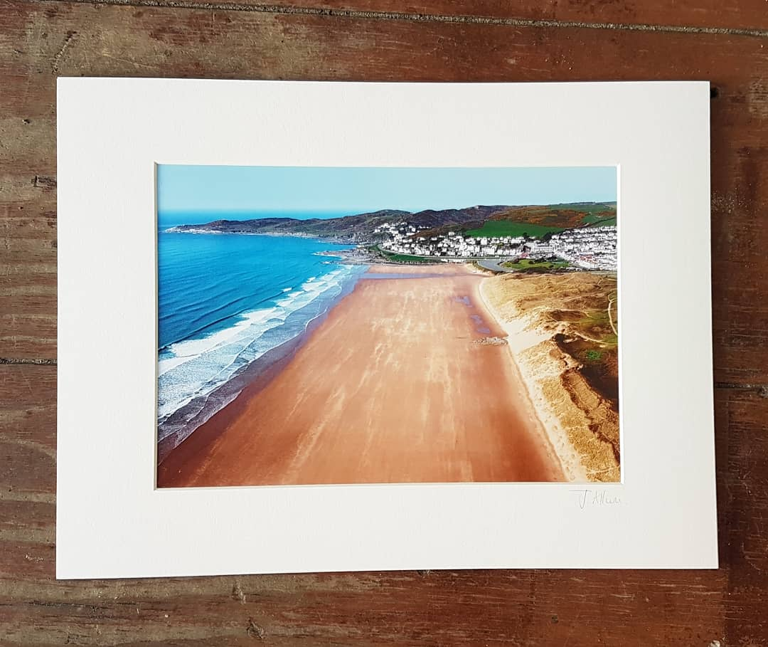 Aerial photographic print of Woolacombe's main beach
