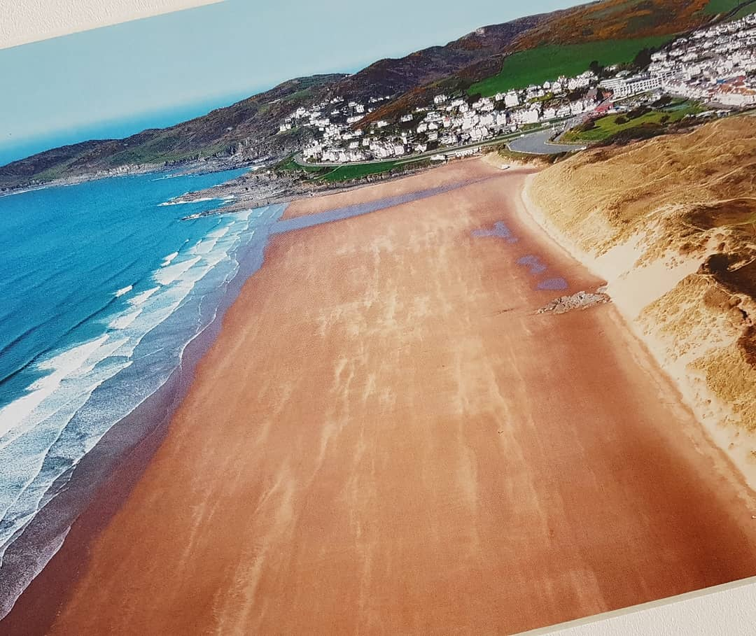 Aerial photographic print of Woolacombe's main beach