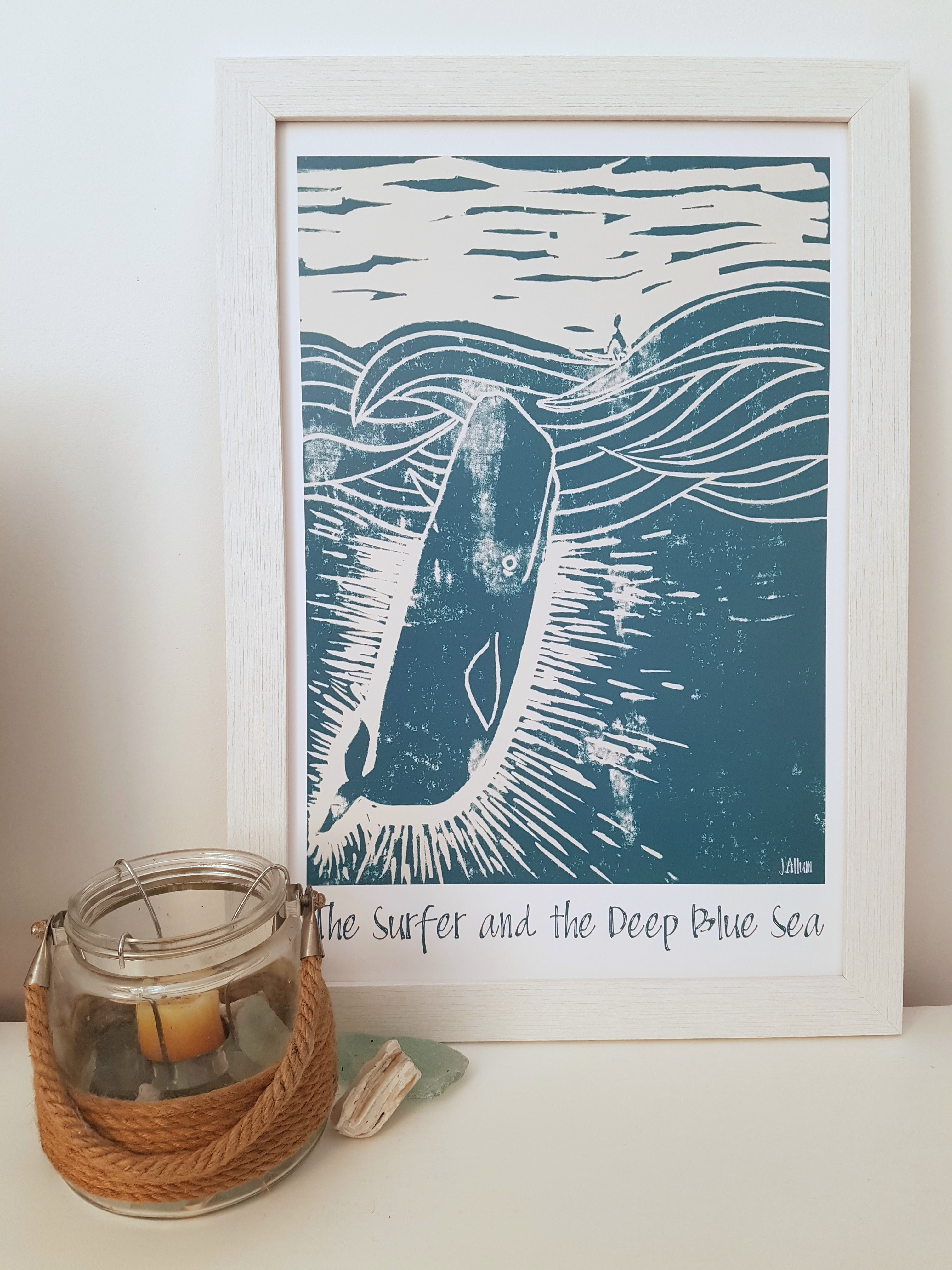 The Surfer and the Deep Blue Sea art print