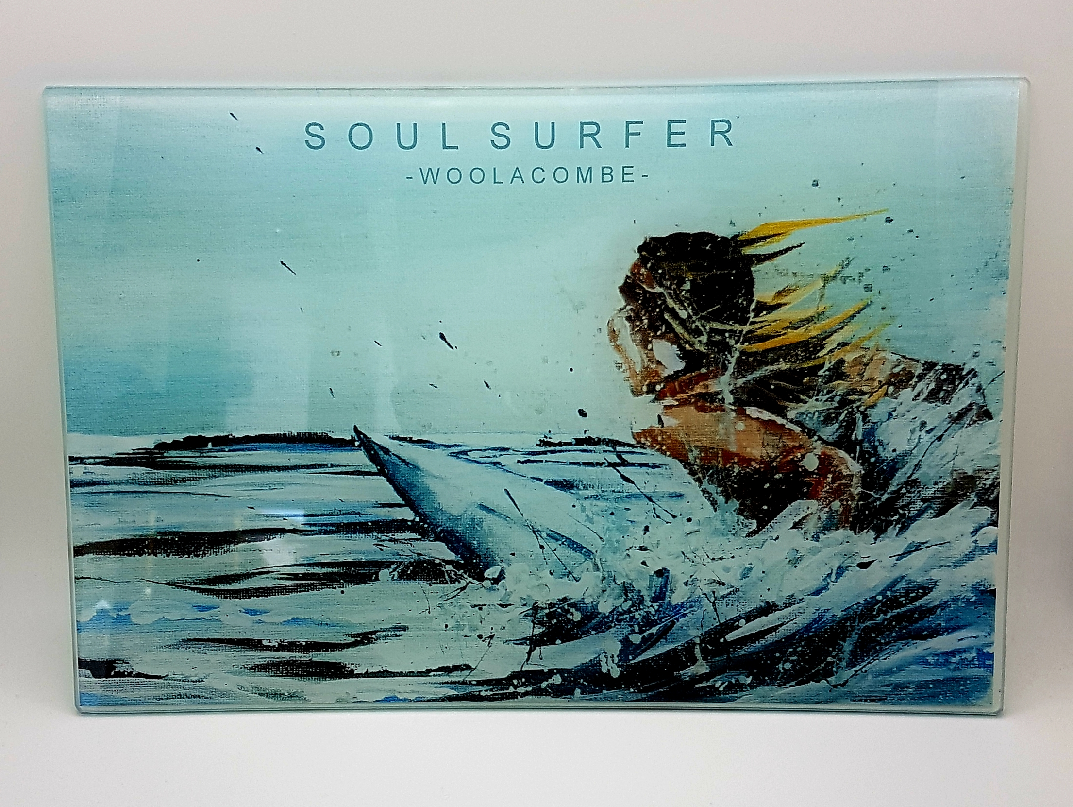 Glass worktop saver, table mat and coaster. Soul surfer