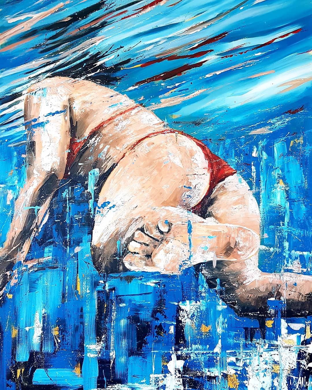 Art. Original painting by Jo Allum 'Swimmer I'